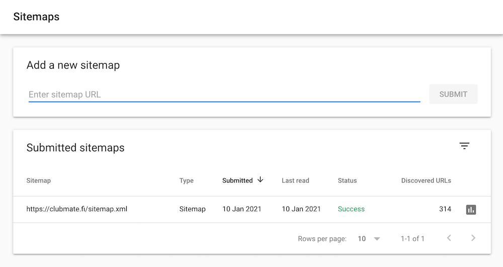 Screenshot of Google Search Console